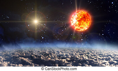 sun with yellow planet star cross - starry star night with...