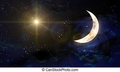 moon with yellow star lens flare - starry star night with...