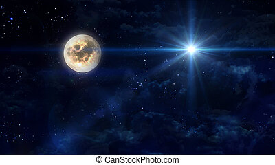 full moon with blue star cross - starry star night with full...