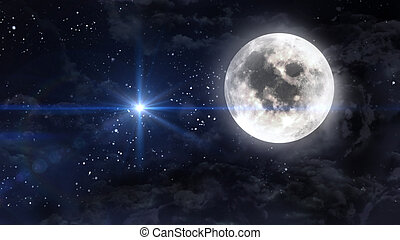 large moon with blue planet star cross - starry star night...