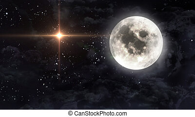 large moon with glow star cross - starry star night with...