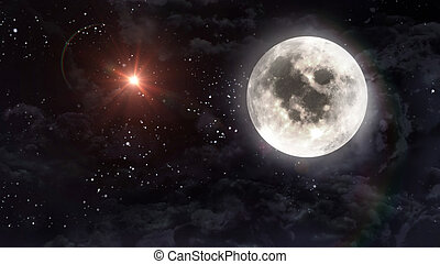 large moon with mars planet star cross - starry star night...