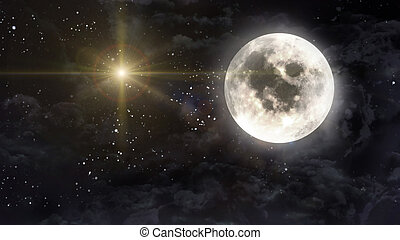 large moon with yellow planet star cross - starry star night...