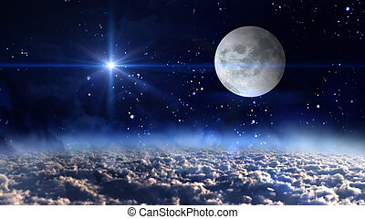moon planet with blue star cross - starry star night with...