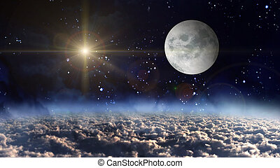 moon planet with yellow star cross - starry star night with...