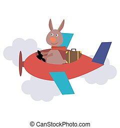 cute hare with scarf on transport. Vector