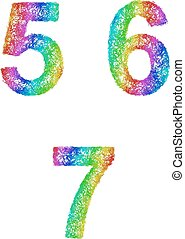 Rainbow sketch font set - numbers 5, 6, 7