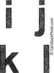 Sketch font set - lowercase letters i, j, k, l