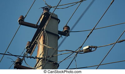 Old Electricity Wires - Old electricity wires on the pole