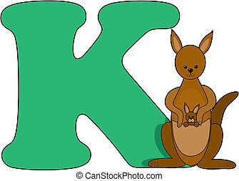 Letter K with a Kangaroo