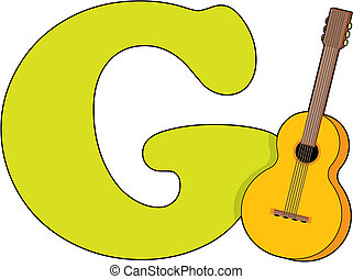 Letter G with a Guitar