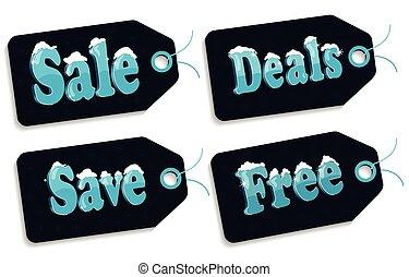 Sale  tags on blue