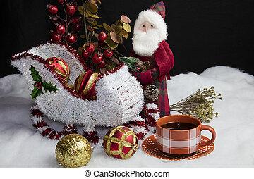 Santas Sleigh Setting for Christmas and Coffee - Home decor...