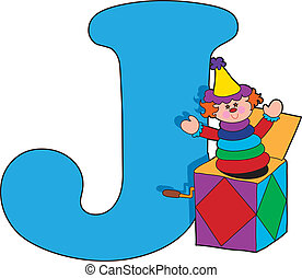 Letter J with a Jack in a Box