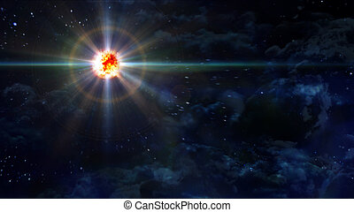 starry night star planet explosion