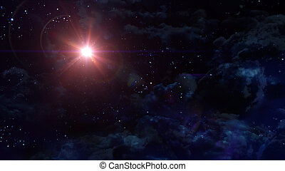 starry night star with mars planet