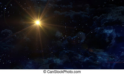 starry night star with yellow planet - the beauty night sky...