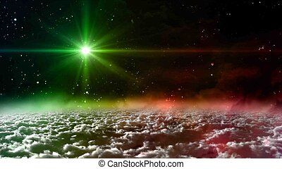 space glow green color star lens flare