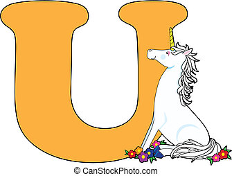 Letter U with a Unicorn