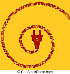 Electric Plug Concept on Orange Background Spiral Braided...
