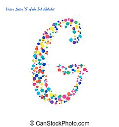 Vector Letter G from Bright Color Ink Blots with Splashes