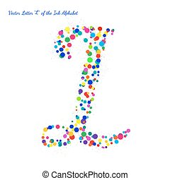 Vector Letter L from Bright Color Ink Blots with Splashes