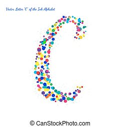 Vector Letter C from Bright Color Ink Blots with Splashes
