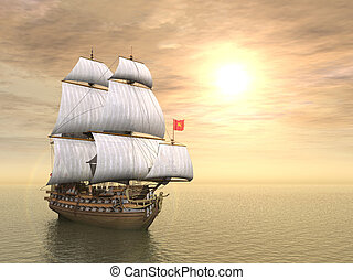 pirate ship - 3d generated scene of pirate ship at sunset