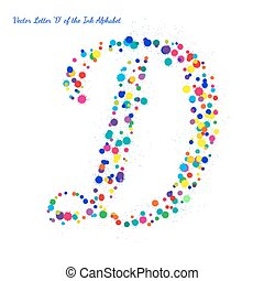 Vector Letter D from Bright Color Ink Blots with Splashes