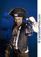 pirate - man disguised as a pirate over blue background