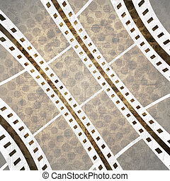 grunge background with film stripe - Old film stripe on a...