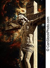 Crucifix and the Tarantula Nebula background (Elements of...