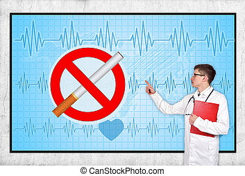 stop smoking - doctor pointing to screen with stop smoking...