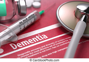 Dementia. Medical Concept on Red Background.
