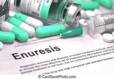 diagnostic, -, Enuresis., Monde Médical, concept,...