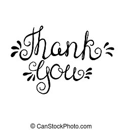 Vector lettering. - Thank you - handdrawn typography design...
