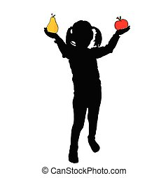 girl with pear and apple vector silhouette