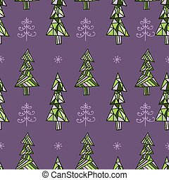 Holiday Christmas trees seamless pattern