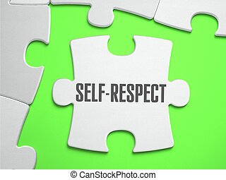 Self-Respect - Jigsaw Puzzle with Missing Pieces. Bright...