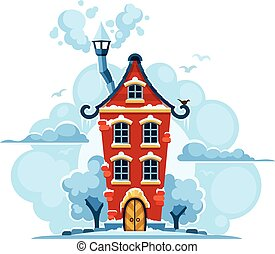 Winter fairy-tale house in snow with clouds