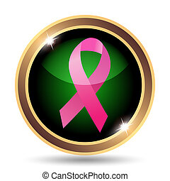 Breast cancer ribbon icon Internet button on white...