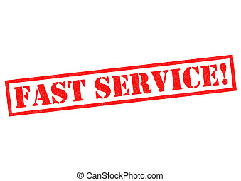 FAST SERVICE red Rubber Stamp over a white background