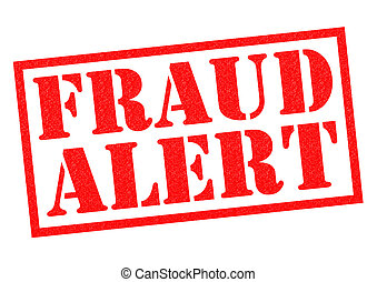 FRAUD ALERT red Rubber Stamp over a white background