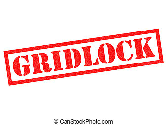 GRIDLOCK red Rubber Stamp over a white background