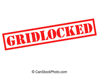 GRIDLOCKED red Rubber Stamp over a white background