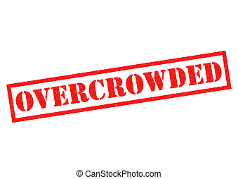 OVERCROWDED red Rubber Stamp over a white background