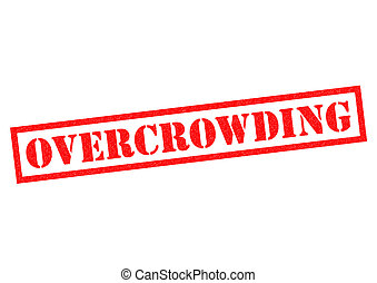 OVERCROWDING red Rubber Stamp over a white background
