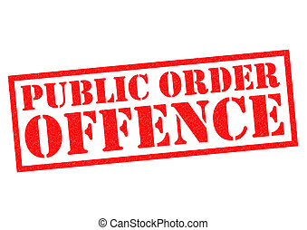 PUBLIC ORDER OFFENCE red Rubber Stamp over a white...