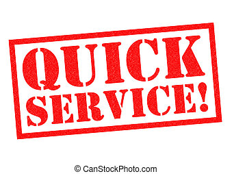 QUICK SERVICE red Rubber Stamp over a white background