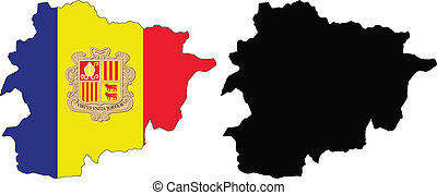 andorra - vector map and flag of Andorra with white...